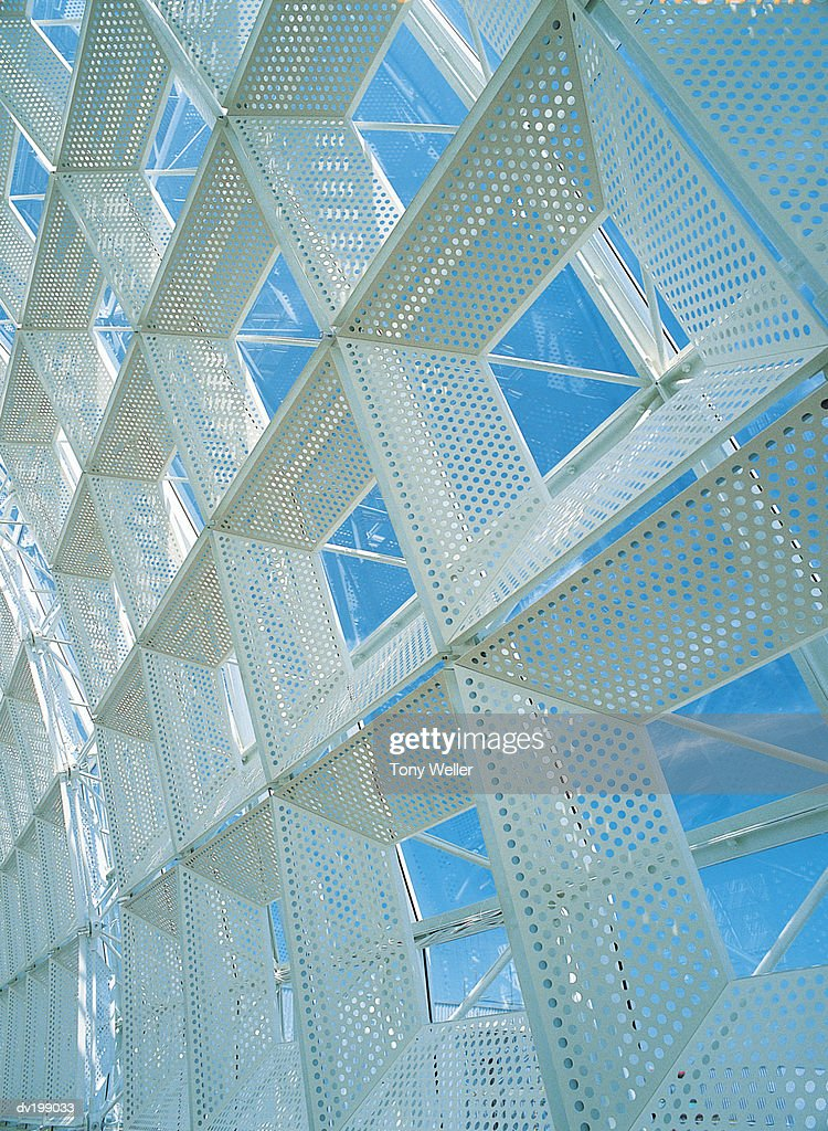 Detail of glass and metal ceiling : Stock Photo