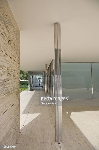 detail of glass, stone, chrome in the mies van der rohe pavilion, the german pavilion, built 1929 for the barcelona international exposition, rebuilt 198386, barcelona, catalonia, spain - 1920 1929 stock pictures, royalty-free photos & images