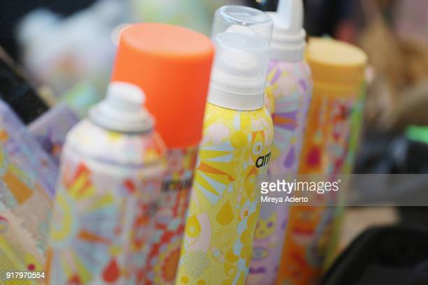 Detail of hair products backstage at the Calvin Luo fashion show during New York Fashion Week on February 13 2018 in New York City