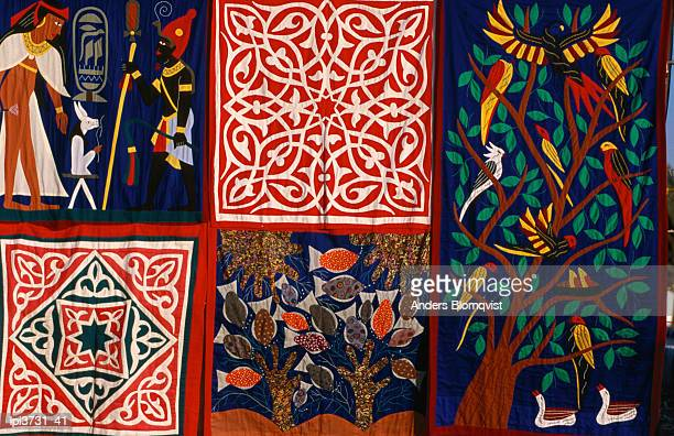 Detail of hand sewn wallhanging, Luxor, Egypt, Africa