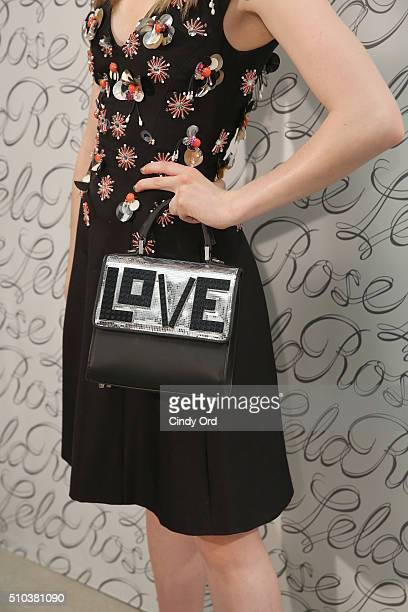 Detail of handbag worn by actress Sklyer Samuels at the Lela Rose Fall 2016 fashion show during New York Fashion Week The Shows at The Gallery...