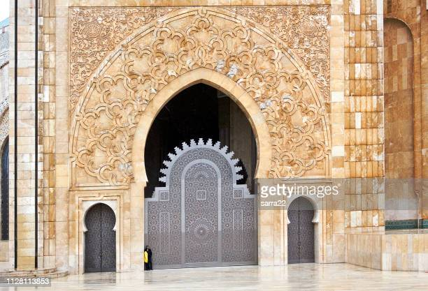 detail of hassan ii mosque in casablanca, morocco - mosque hassan ii stock photos and pictures