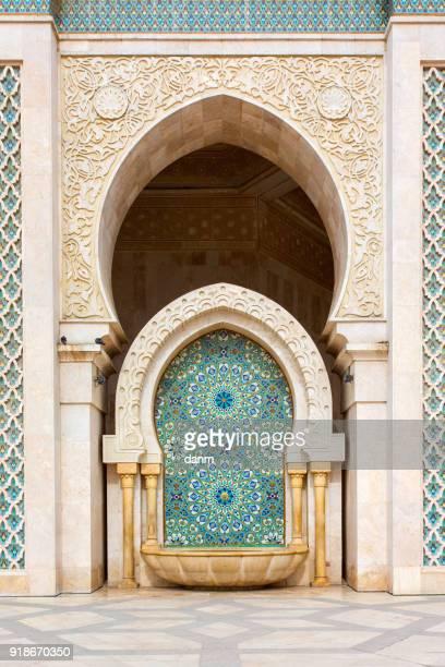 detail of hassan ii mosque in casablanca, morocco - mosque hassan ii photos et images de collection