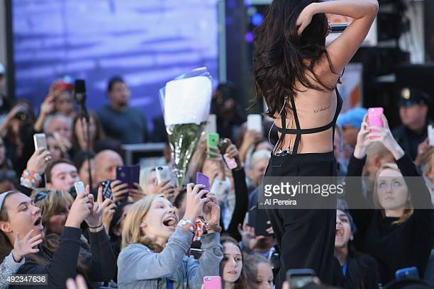 Detail of her back tattoo when Selena Gomez performs on NBC's Today Show as part of the Citi Concert Series at Rockefeller Plaza on October 12 2015...