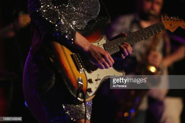 Detail of her hands on her guitar when Ana Popovic performs at the Loft at City Winery on September 17, 2018 in New York City.