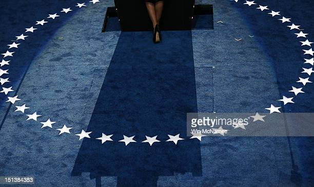 A detail of her shoe as actress Eva Longoria speaks on stage during the final day of the Democratic National Convention at Time Warner Cable Arena on...