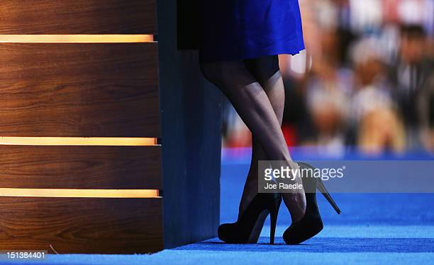 A detail of her shoes as actress Eva Longoria speaks on stage during the final day of the Democratic National Convention at Time Warner Cable Arena...