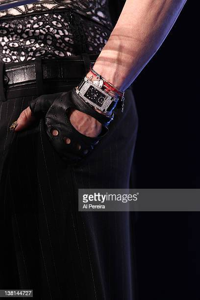 Detail of her watch and wrist jewelry as Madonna attends the Bridgestone Super Bowl XLVI Halftime Show Press Conference at the Super Bowl XLVI Media...