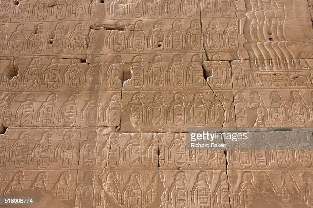 Detail of hieroglyphs showing ancient armies at the Temple of Amun at Karnak Luxor Nile Valley Egypt The Karnak Temple Complex is the largest...