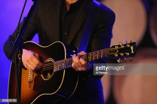 Detail of his hands on the guitar when Josh Ritter performs at City Winery on February 2 2017 in New York City