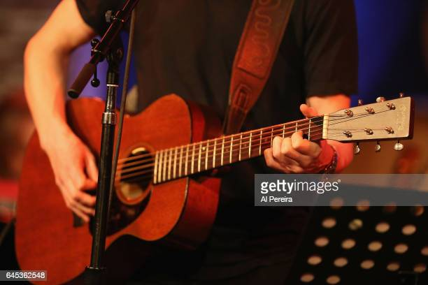 Detail of his hands on the guitar when Teddy Thompson performs as part of Wesley Stace's Cabinet of Wonders at City Winery on February 24 2017 in New...