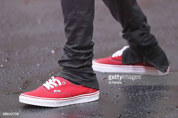 0bb2ace1d0bc74 Detail of his red Vans sneakers when Justin Bieber performs on NBC s  Today   Show