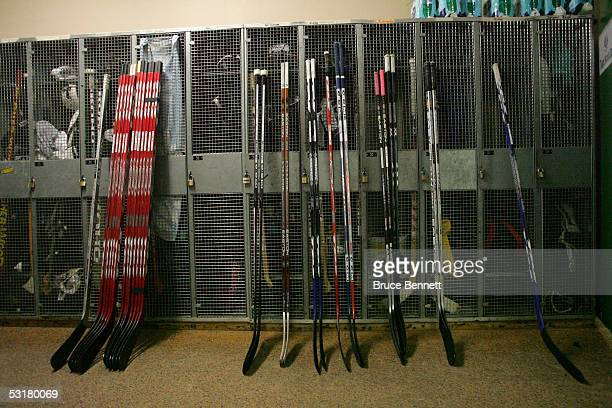 Detail of hockey sticks during the game between the Primus Worldstars and SC Bern on December 15, 2004 at Bern Arena in Bern, Switzerland. The...
