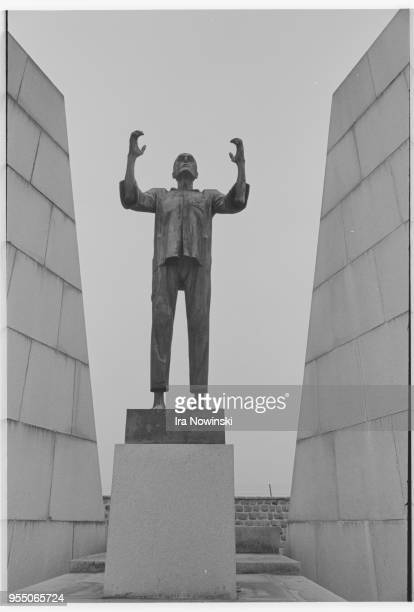 Detail of holocaust memorial from czechoslovakia at mauthausen concentration camp 1987