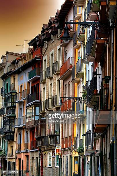 detail of house balconies - pamplona stock photos and pictures