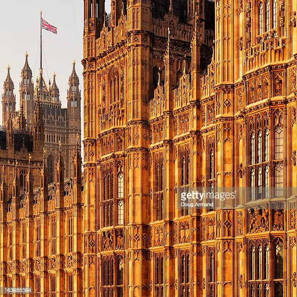 detail of house of parliament, london - victoria tower stock pictures, royalty-free photos & images
