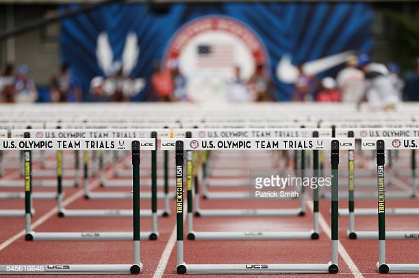 A detail of hurdles in the Women's 100 Meter Hurdles Final during the 2016 US Olympic Track Field Team Trials at Hayward Field on July 8 2016 in...