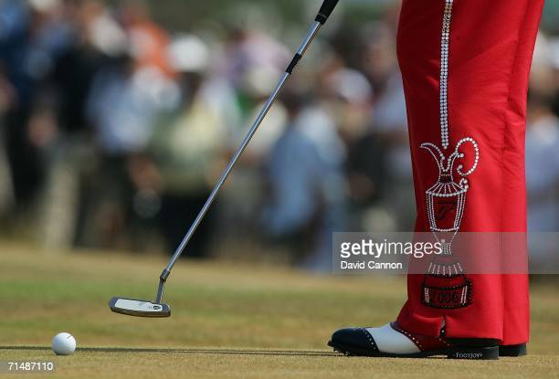 Detail of Ian Poulter's trousers during the first round of The Open Championship at Royal Liverpool Golf Club on July 20 2006 in Hoylake England