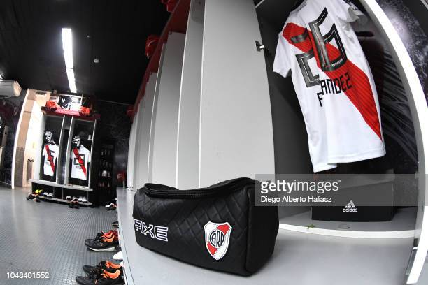 Detail of Ignacio Fernandez of River Plate jersey in the dressing room prior to a match between a quarter final second leg match of Copa CONMEBOL...