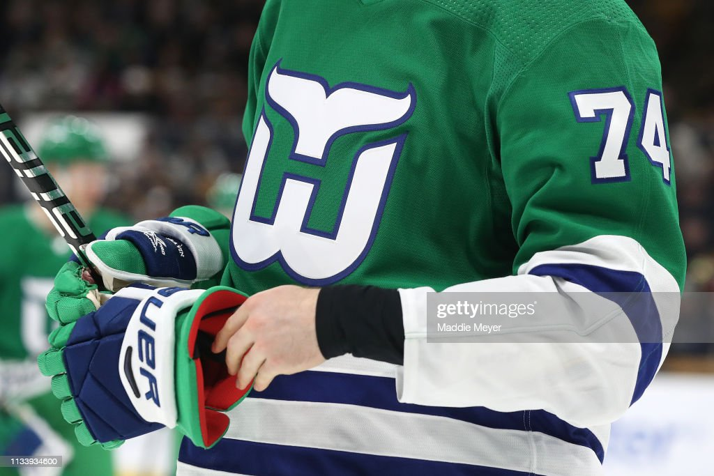 finest selection 54afb c4a1d A detail of Jaccob Slavin of the Carolina Hurricanes ...