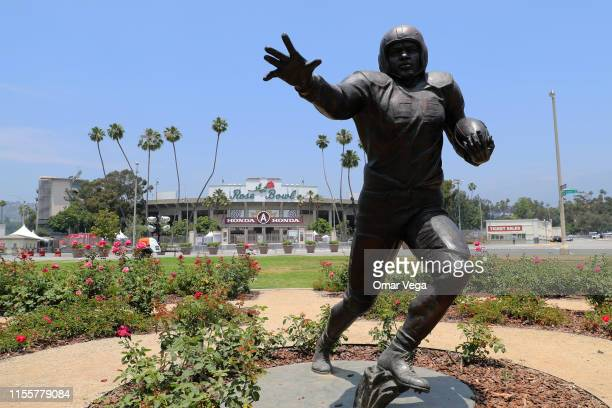 Detail of Jackie Robinson statue ahead of the 2019 CONCACAF Gold Cup at Rose Bowl on June 13 2019 in Pasadena California