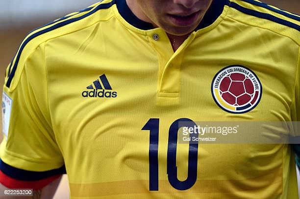 Detail of James Rodriguez' jersey during a match between Colombia and Chile as part of FIFA 2018 World Cup Qualifiers at Metropolitano Roberto...