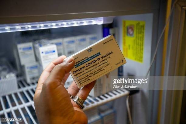 Detail of Janssen Johnson & Johnson COVID-19 vaccine that is not currently being given out because it has been put on hold. It was the first day that...