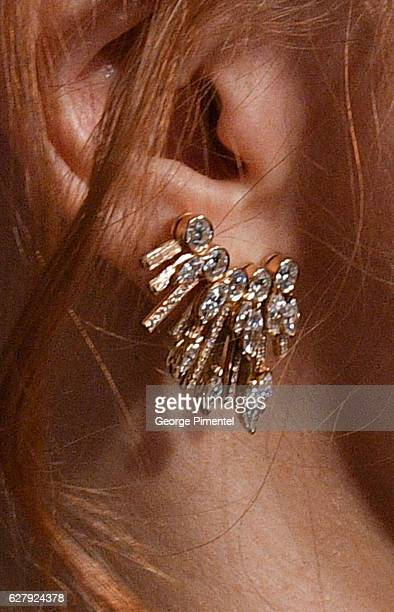 A detail of Jessica Chastain's earrings at Miss Sloane Toronto Premiere held at Isabel Bader Theatre on December 5 2016 in Toronto Canada