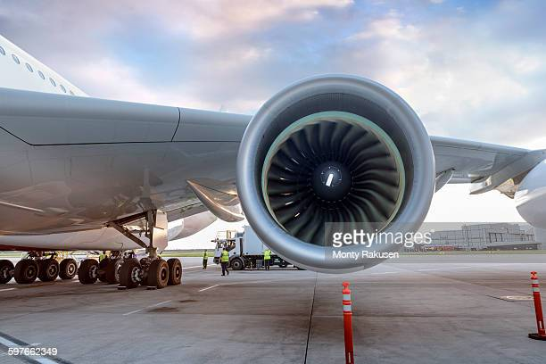 Detail of jet engine on A380 aircraft