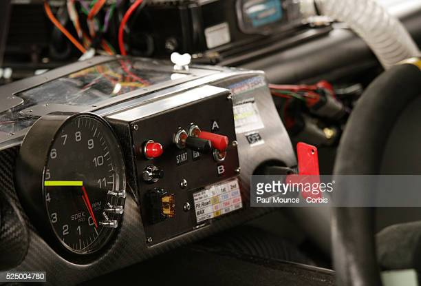 Detail of Jimmie Johnson's dashboard during the NASCAR Sprint Cup Series Auto Club 400