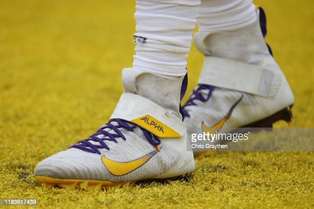 Detail of Joe Burrow of the LSU Tigers shoes prior to the game against the Auburn Tigers at Tiger Stadium on October 26, 2019 in Baton Rouge,...