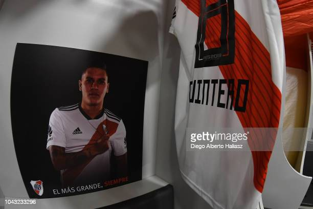 Detail of Juan Quintero of River Plate jersey in the visitor's dressing room prior to a match between Boca Juniors and River Plate as part of...
