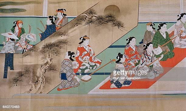 Detail of 'Kabuki Entertainers' by Miyagawa Choshun
