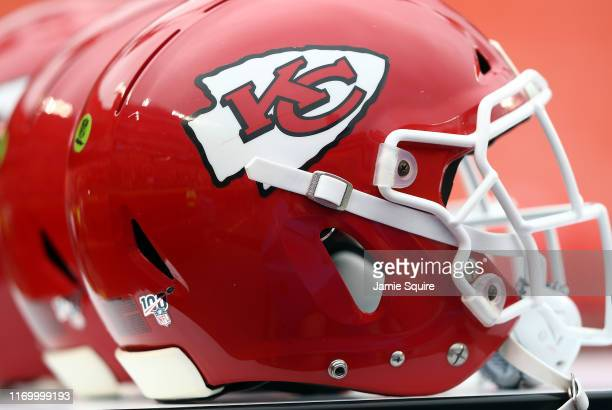 A detail of Kansas City Chiefs helmets prior to the preseason game against the San Francisco 49ers at Arrowhead Stadium on August 24 2019 in Kansas...