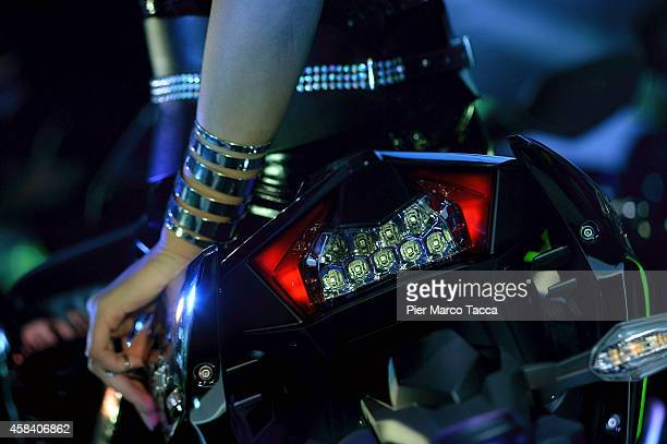 A detail of Kavasaki motorbike is displayed during the EICMA 72th International Motorcycle Exhibition on November 4 2014 in Milan Italy