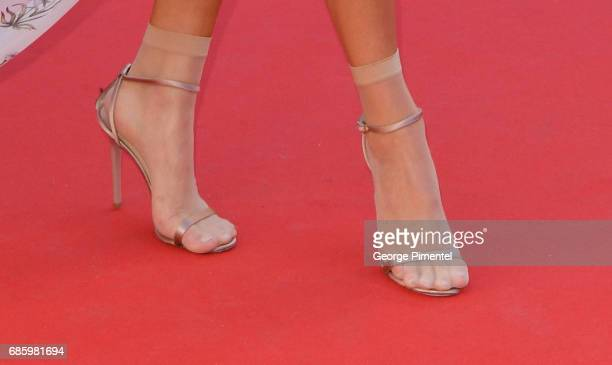 A detail of Kendall Jenner's shoes at the '120 Beats Per Minute ' screening during the 70th annual Cannes Film Festival at Palais des Festivals on...