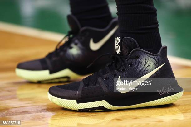 A detail of Kyrie Irving of the Boston Celtics' shoes during the first half against the Phoenix Suns at TD Garden on December 2 2017 in Boston...