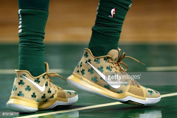 A detail of Kyrie Irving of the Boston Celtics' shoes during the second quarter against the Golden State Warriors at TD Garden on November 16 2017 in...