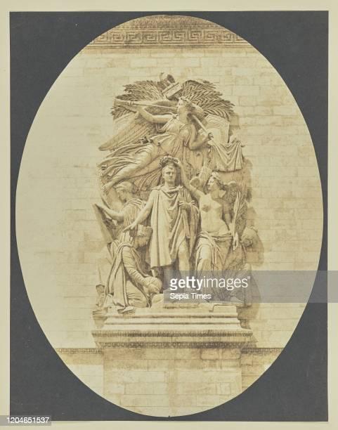 Detail of Le Triomphe de 1810, Arc de Triomphe, Hippolyte Bayard , Paris, France, about 1847, Salted paper print, 20.3 _ 15.6 cm .