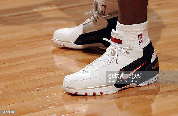 Detail of LeBron James' #23 of the Cleveland Cavaliers shoes during the game against the Sacramento Kings at Arco Arena on October 29 2003 in...