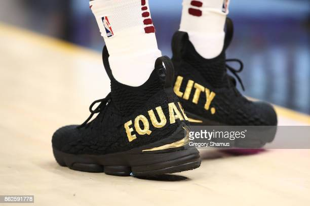 A detail of LeBron James of the Cleveland Cavaliers shoes while playing the Boston Celtics at Quicken Loans Arena on October 17 2017 in Cleveland...