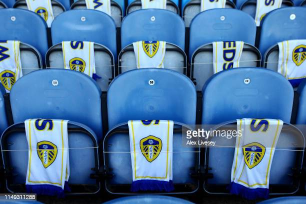 Detail of Leeds scarfs hanging on seats prior to the Sky Bet Championship Play-off semi final second leg match between Leeds United and Derby County...