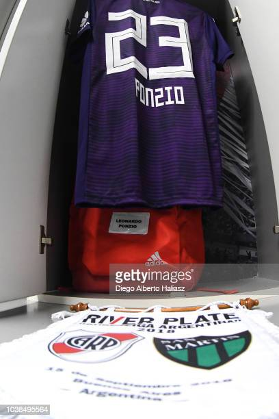 Detail of Leonardo Ponzio of River Plate jersey and match pennant in the dressing room before a match between River Plate and San Martin de San Juan...