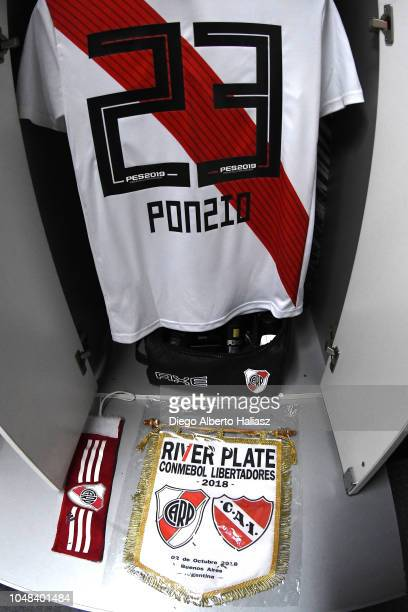 Detail of Leonardo Ponzio of River Plate jersey in the dressing room prior to a match between a quarter final second leg match of Copa CONMEBOL...