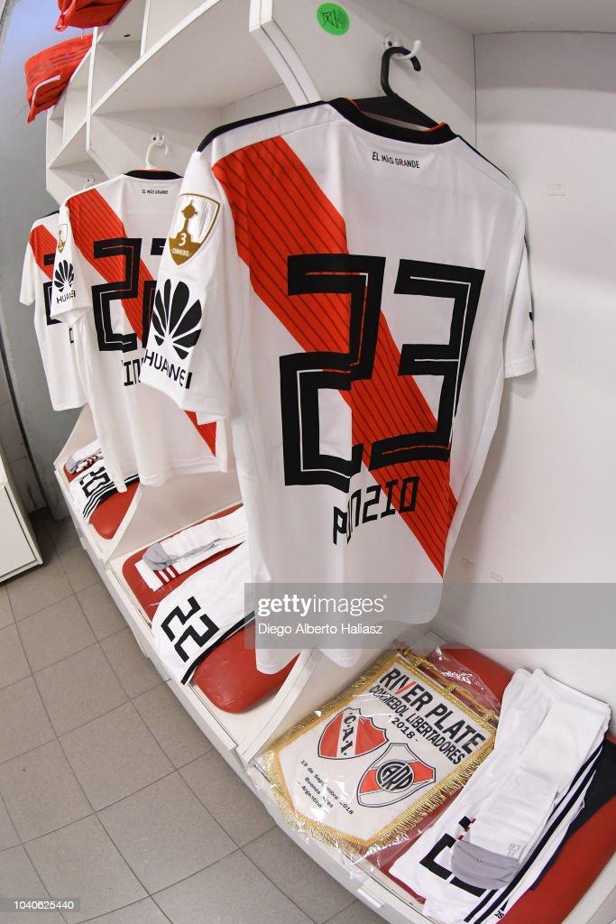 Detail of Leonardo Ponzio of River Plate jersey in the