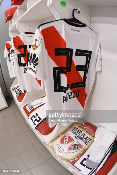 Detail of Leonardo Ponzio of River Plate jersey in the visitor's dressing room before a Quarter Final first leg match between Independiente and River...