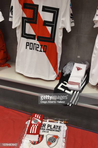 Detail of Leonardo Ponzio's jersey of River Plate jersey and the match's pennant in the visitor's dressing room before a match between San Lorenzo...
