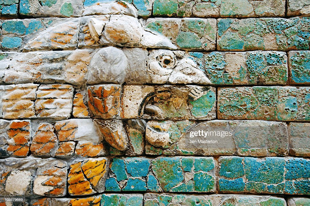 Detail of lion on wall at Pergamon Museum : Stock Photo