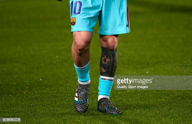 Detail of Lionel Messi of FC Barcelona leg tattoo during the La Liga match between Las Palmas and FC Barcelona at Estadio Gran Canaria on March 1...