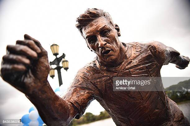 Detail of Lionel Messi statue at Paseo de la Gloria on June 28 2016 in Buenos Aires Argentina Lionel Messi has announced his retirement from...